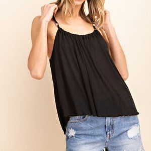 Wood Buckled Detail Camisole Knit Top